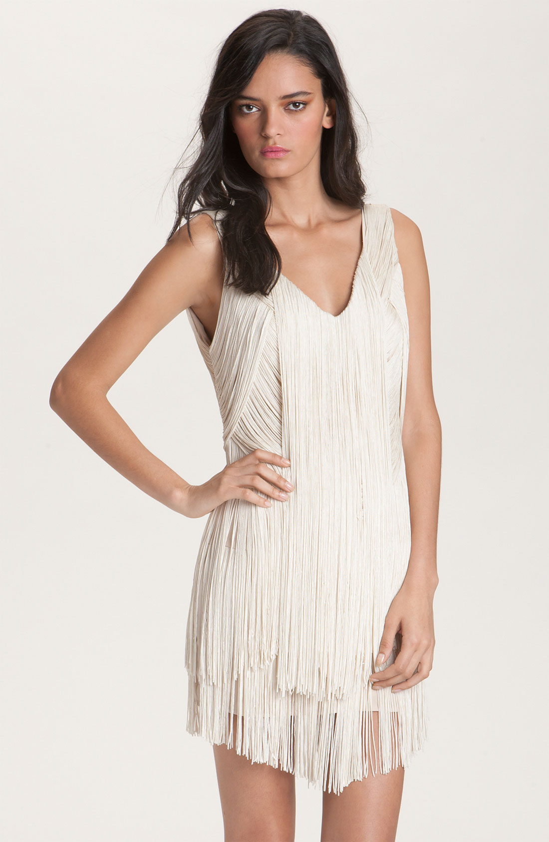 Haute hippie fringe dress in white swan lyst for To have and to haute dress
