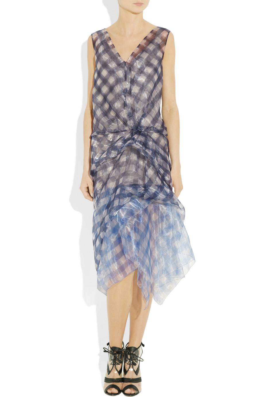 Marc Jacobs Woman Checked Silk Crepe De Chine Mini Dress Light Blue Size 6 Marc Jacobs UqfaSEC5un
