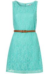 Topshop Belted Lace Dress By Rare
