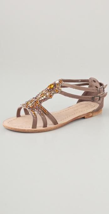 Antik Batik Moana Crystalembellished Sandals In Metallic