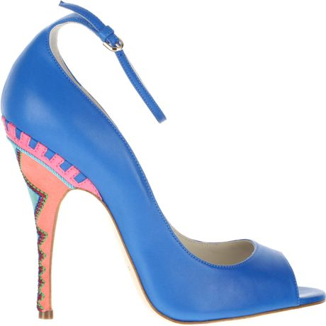 Brian Atwood Peep Toe Sandals  in Blue (moss)