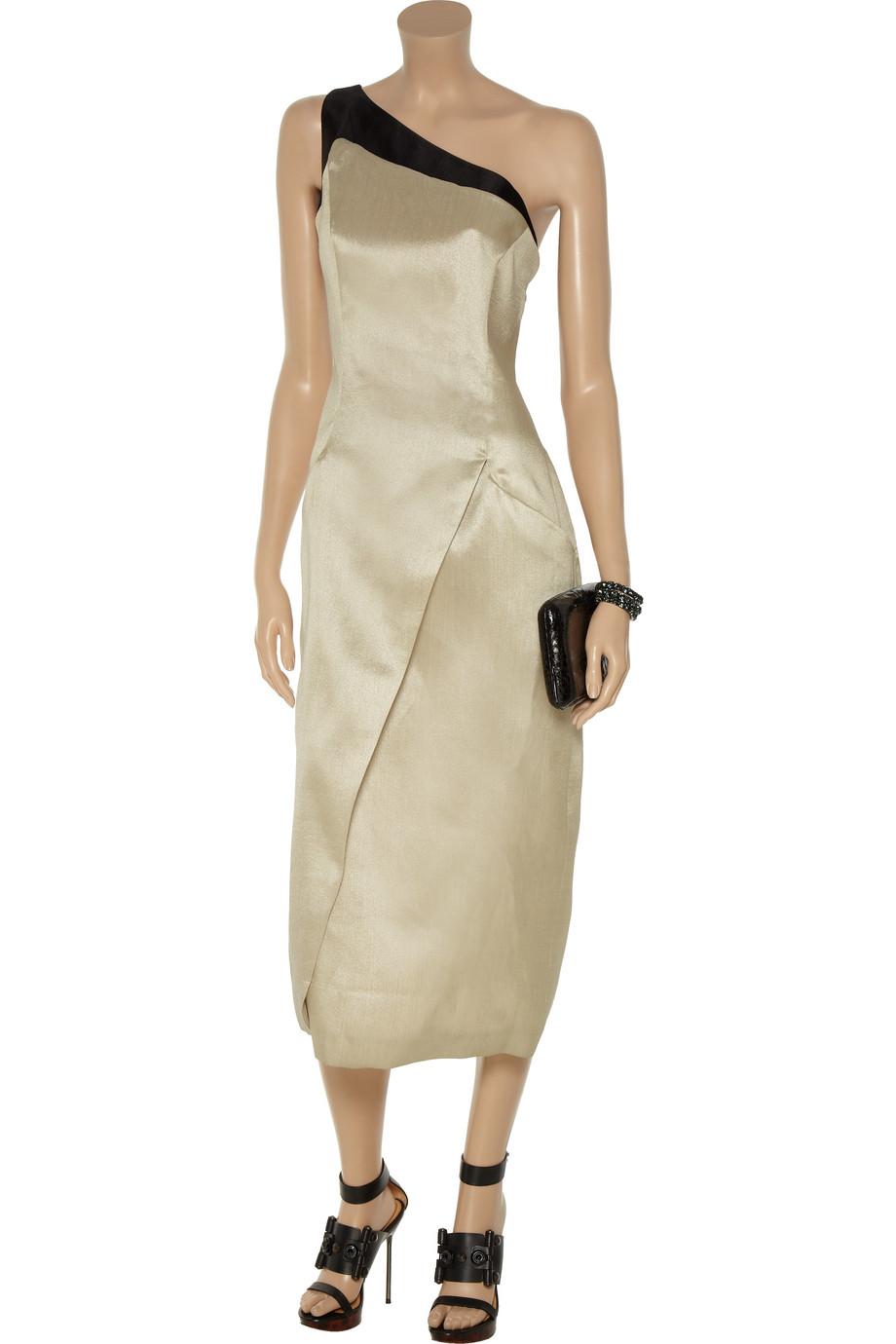 Giorgio Armani Metallicwoven Oneshoulder Dress In Metallic