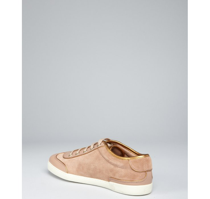 gucci pink suede laceup sneakers in natural lyst. Black Bedroom Furniture Sets. Home Design Ideas