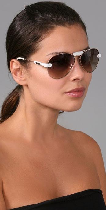 Chloe Aviator Sunglasses  chloé oversized tamaris aviator sunglasses with leather trim in