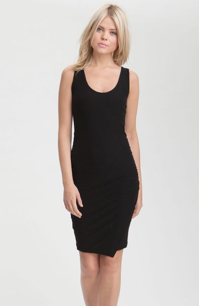 James Perse Ruched Faux Wrap Tank Dress In Black Lyst