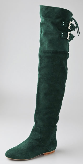 Jeffrey campbell Lubbock Suede Over The Knee Boots in Green | Lyst