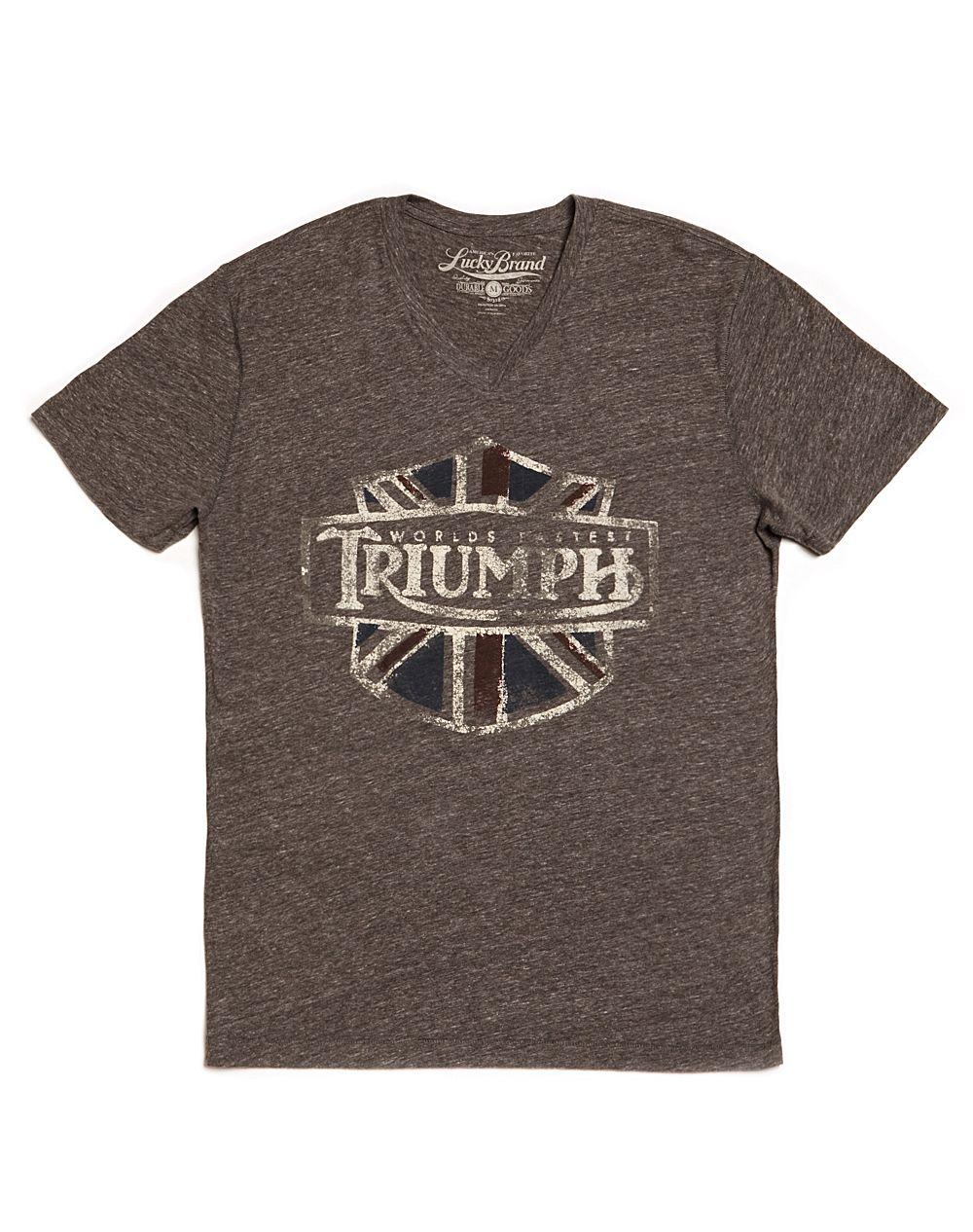 Lucky Brand Triumph Shield Vneck Tshirt In Brown For Men