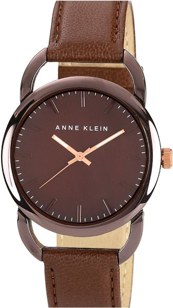 ak anne klein round leather strap watch in brown lyst