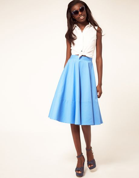 asos collection fit and flare midi skirt in blue