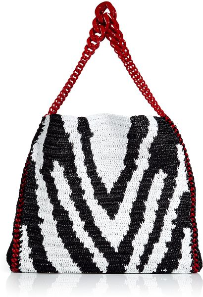 Roberto Cavalli Blackwhite Zebra Print Woven Straw Bag in Black