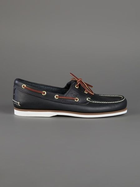 timberland classic boat shoe in black for lyst