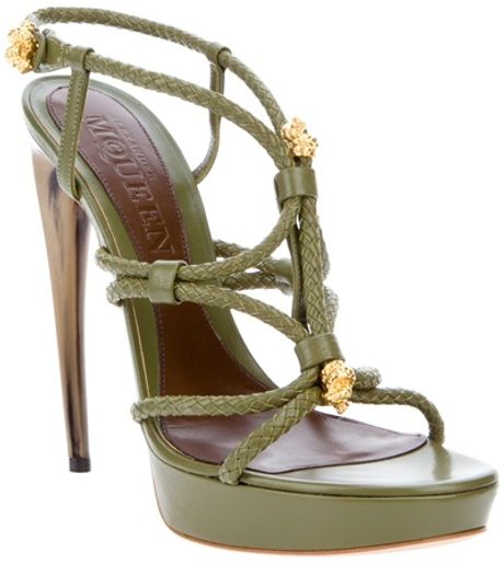 Alexander Mcqueen Leather Knotted Heel in Green