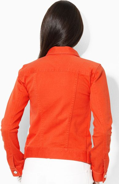 Lauren By Ralph Lauren Jean Jacket In Orange Palm Beach