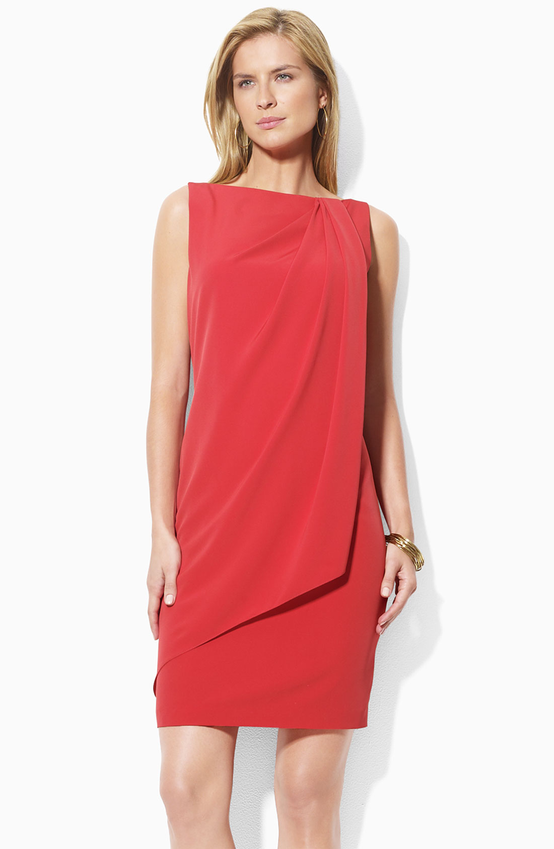 Lauren By Ralph Lauren Sleeveless Drape Front Dress In Red