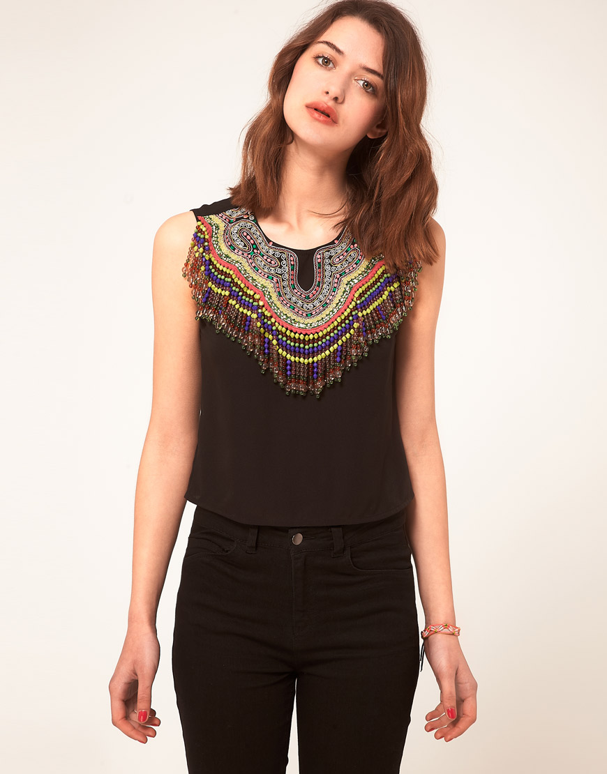 Lyst asos top with embroidered and beaded neckline in black