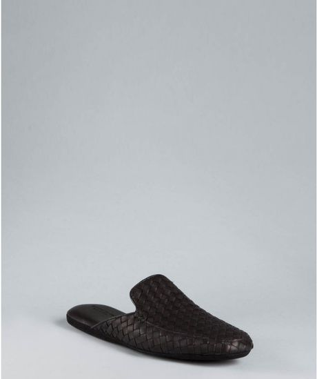 Bottega Veneta Black Intrecciato Suede Slippers in Black for Men - Lyst