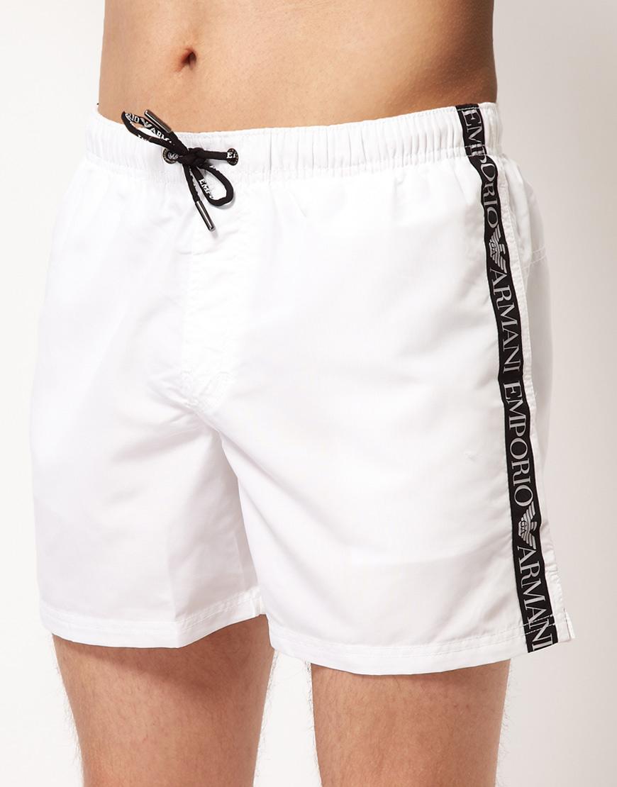 Emporio Armani Taped Swim Short - White