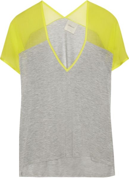 Mason By Michelle Mason Jersey and Silkcrepe Tshirt in Gray