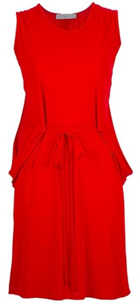 Stella Mccartney Draped Back Dress in Red