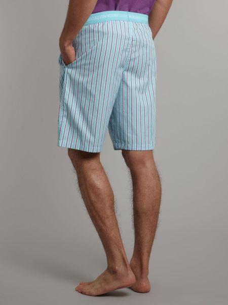 Calvin Klein Woven Jam Stripe Lounge Shorts In Blue For