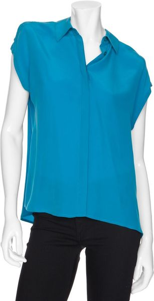 Equipment Exclusive Sleeveless Silk Blouse in Blue (turquoise) - Lyst