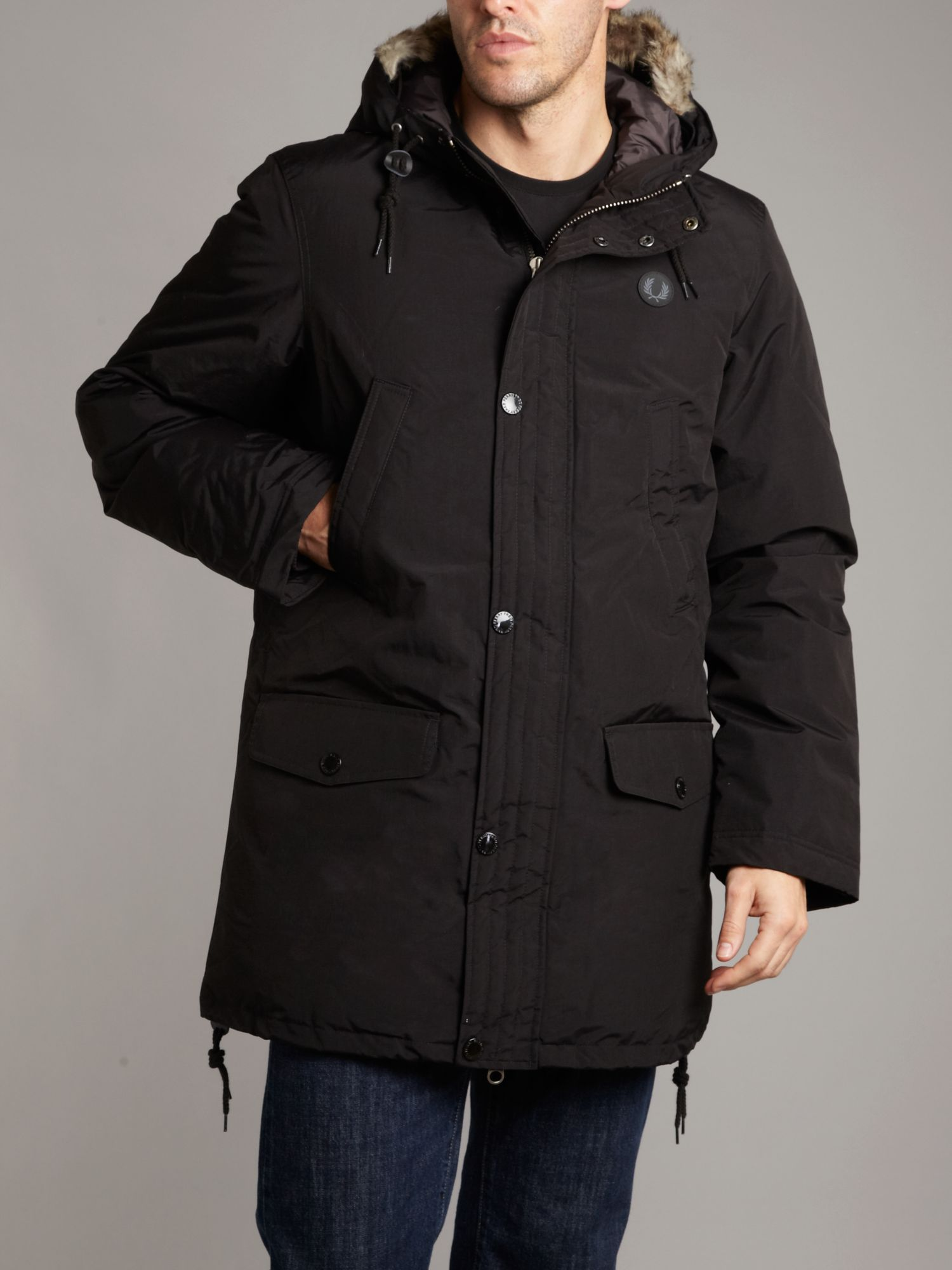 fred perry down parka in black for men lyst. Black Bedroom Furniture Sets. Home Design Ideas
