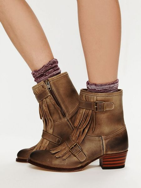 Free People Leather Kilty Ankle Boot In Brown Beige