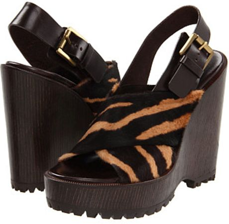 Michael Kors Tiger-Striped Wedges in Black (a)