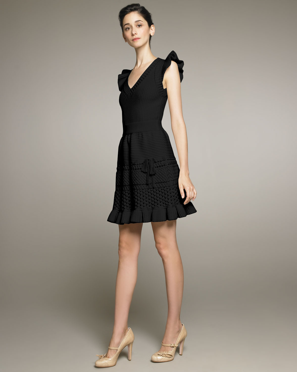 Lyst Red Valentino Vneck Crochet Dress With Bow In Black