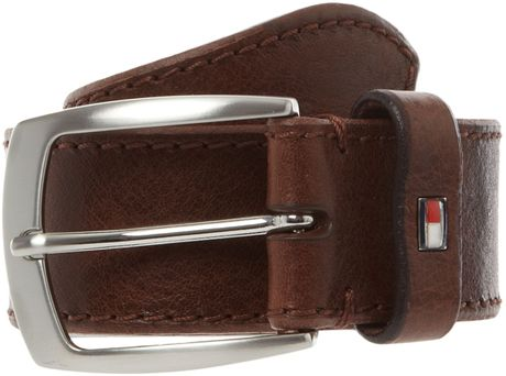 Tommy Hilfiger Stitched Edge Leather Belt in Brown for Men - Lyst