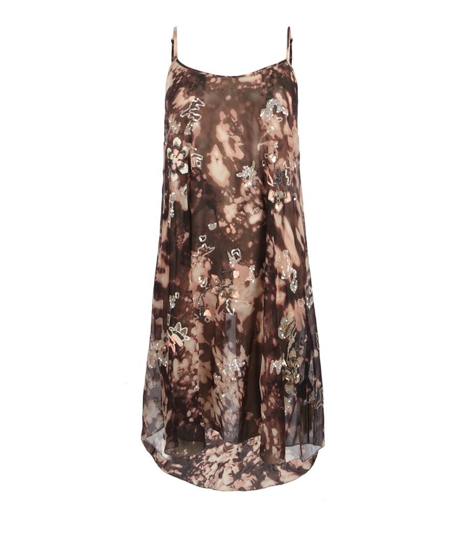 Lyst allsaints cosmic vest dress in brown for Cosmic pattern clothing