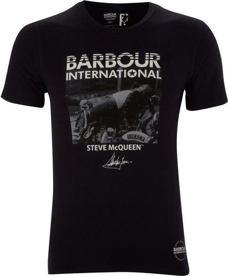 barbour barbour steve mcqueen ezee print tshirt in blue. Black Bedroom Furniture Sets. Home Design Ideas