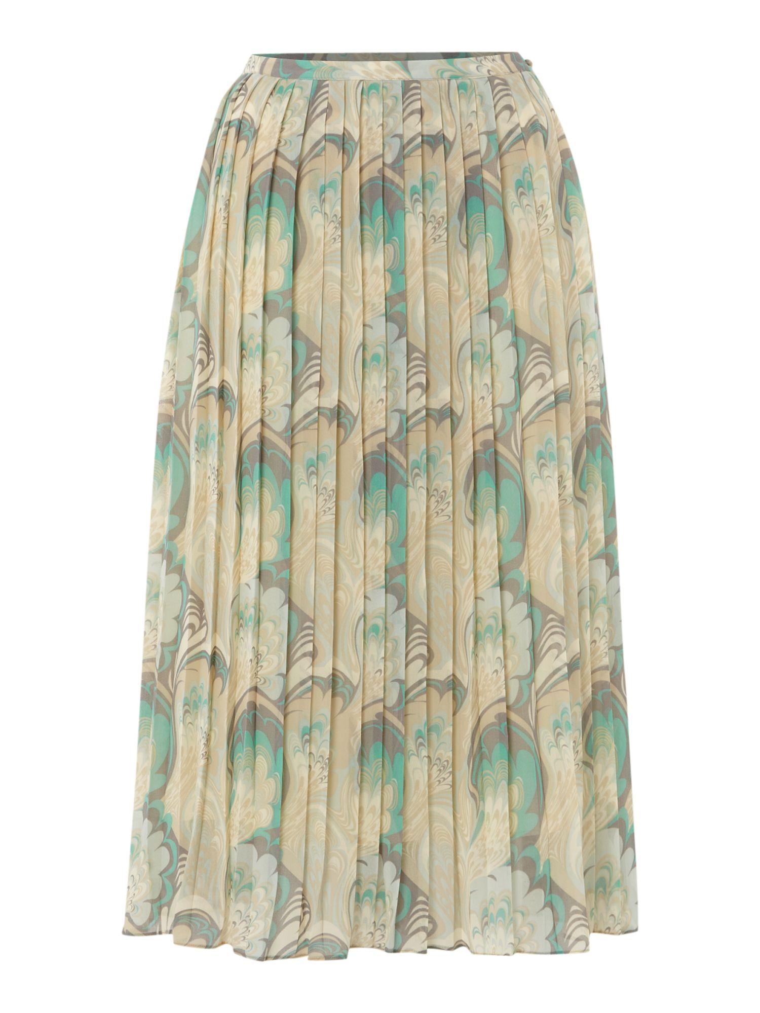 biba feather printed pleated midi skirt in gray multi