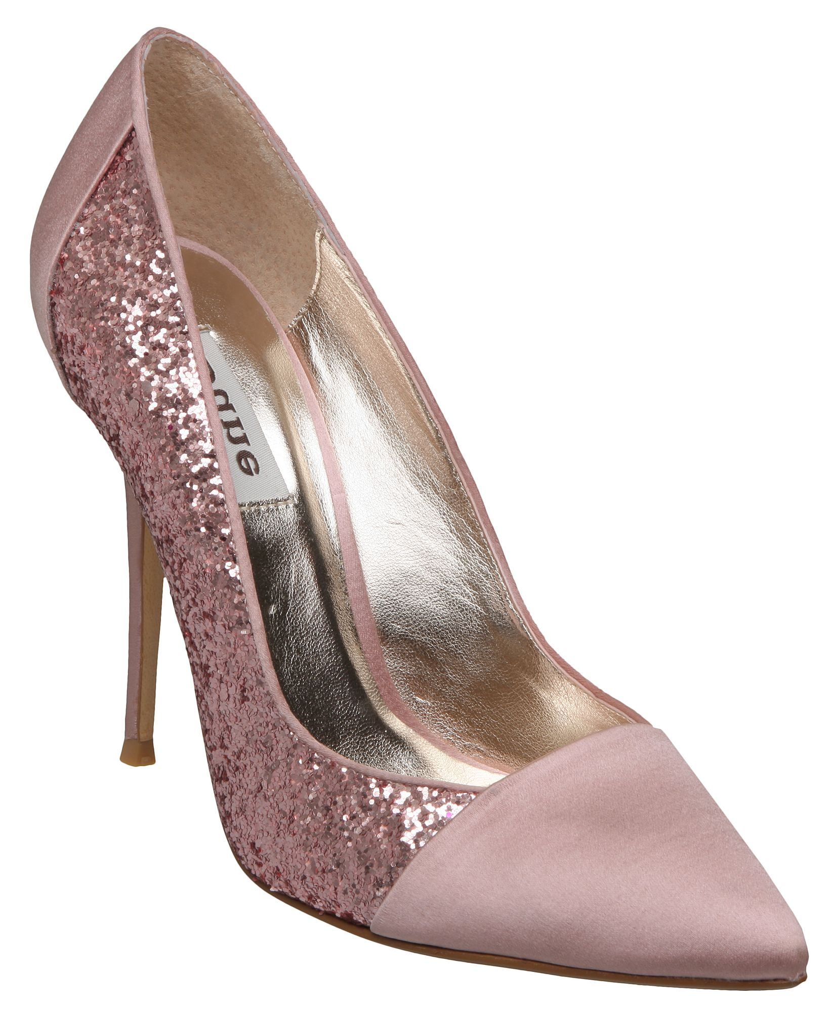 dune blitzen d glitter satin point court shoes in pink lyst