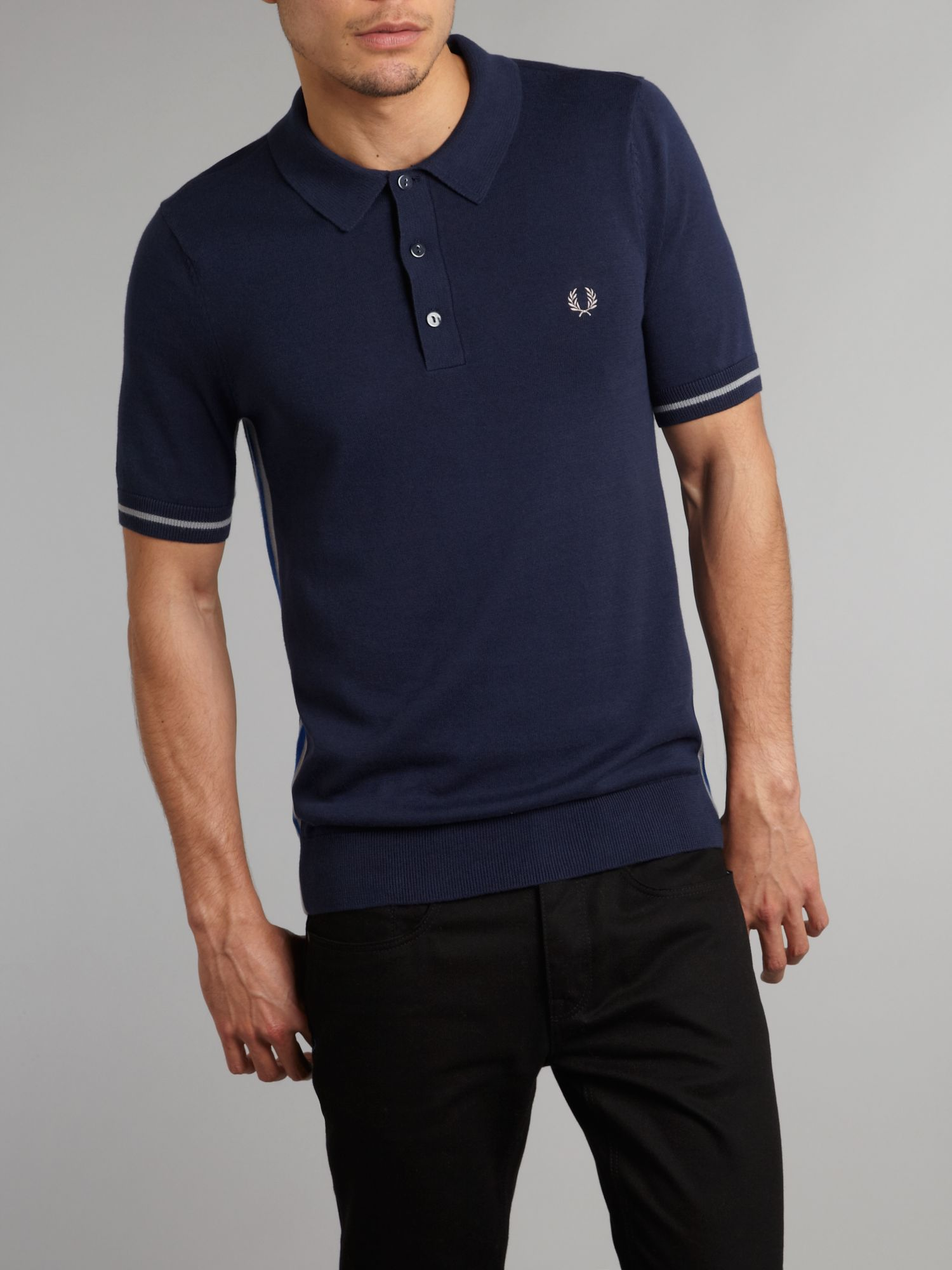 fred perry knitted cycling polo shirt in blue for men lyst. Black Bedroom Furniture Sets. Home Design Ideas