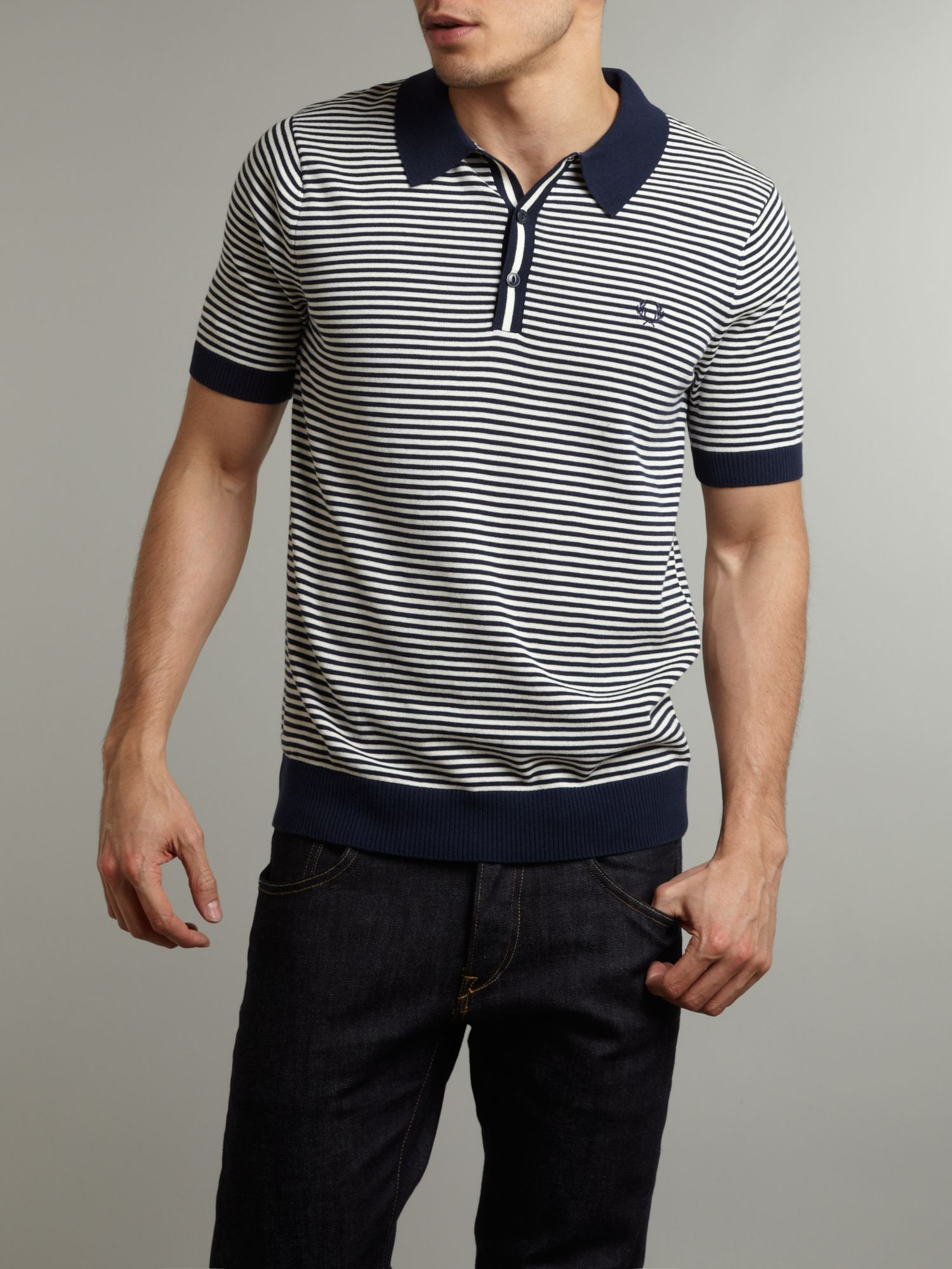Fred Perry Fine Stripe Knitted Polo Shirt In Blue For Men