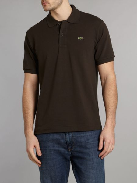 Lacoste Classic Fitted Polo Shirt In Brown For Men