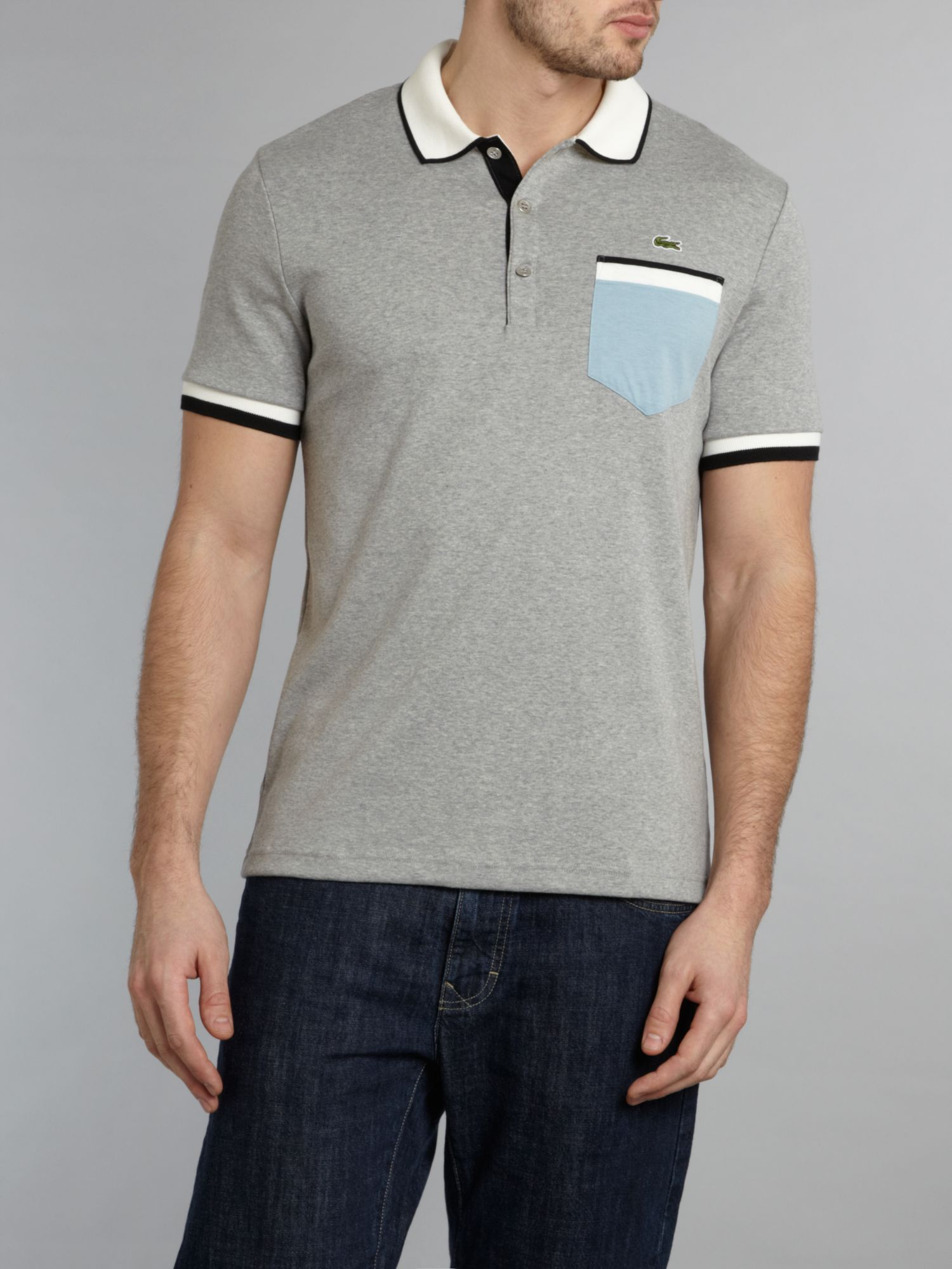 Lacoste contrast pocket polo shirt in gray for men lyst for Two pocket polo shirt