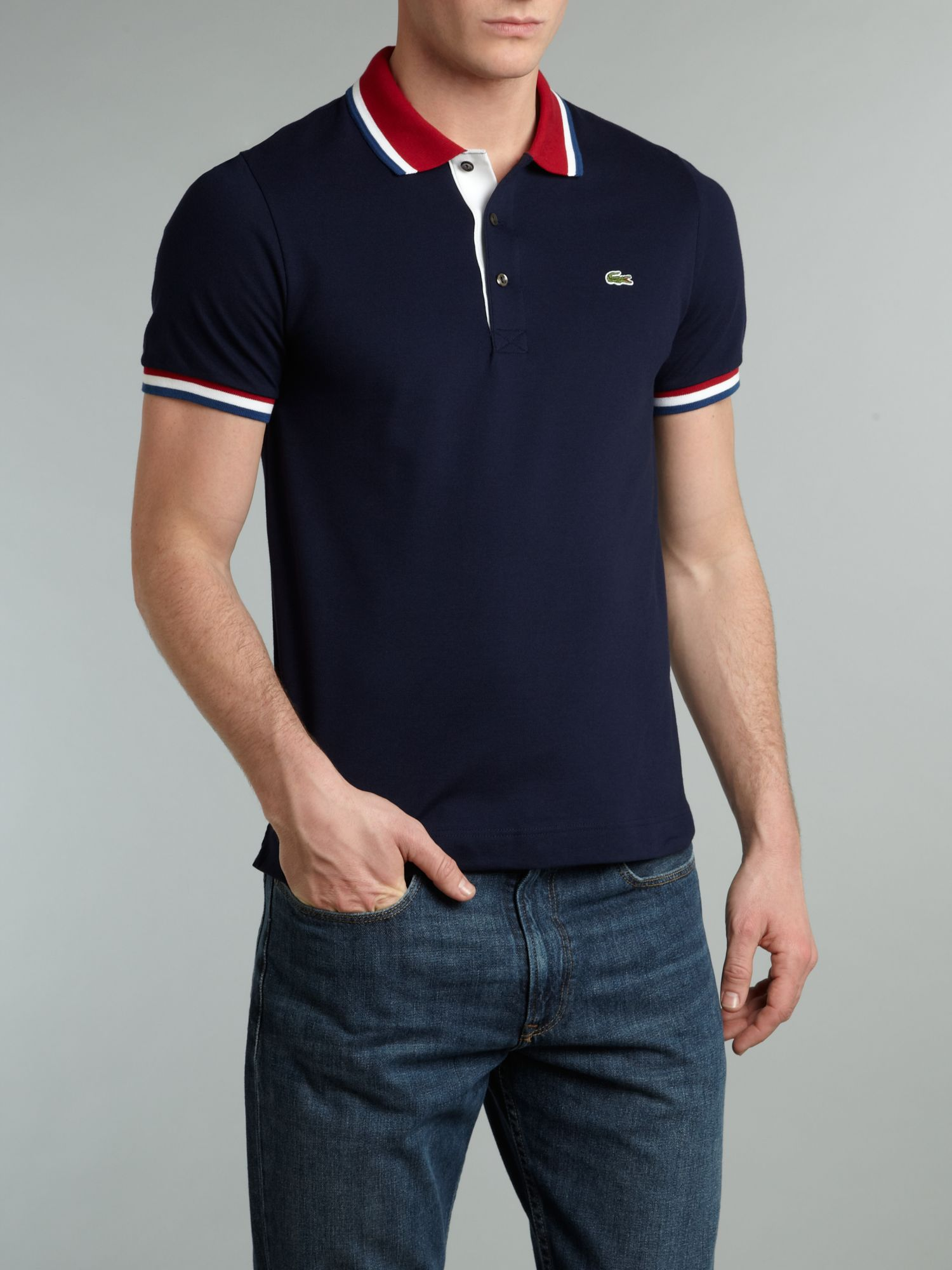 Lyst lacoste contrast collar polo shirt in blue for men Man in polo shirt
