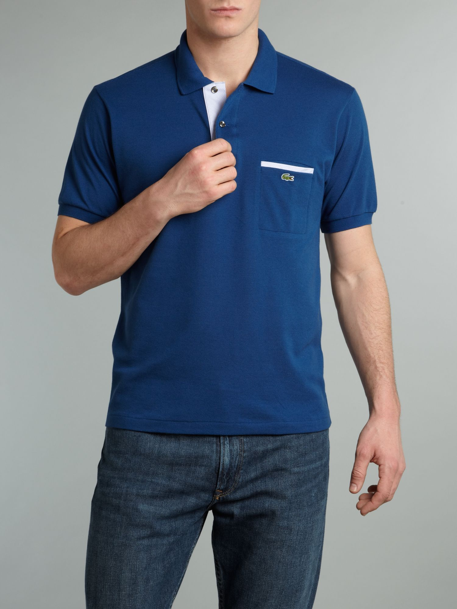 Lyst lacoste trim pocket polo shirt in blue for men for Two pocket polo shirt