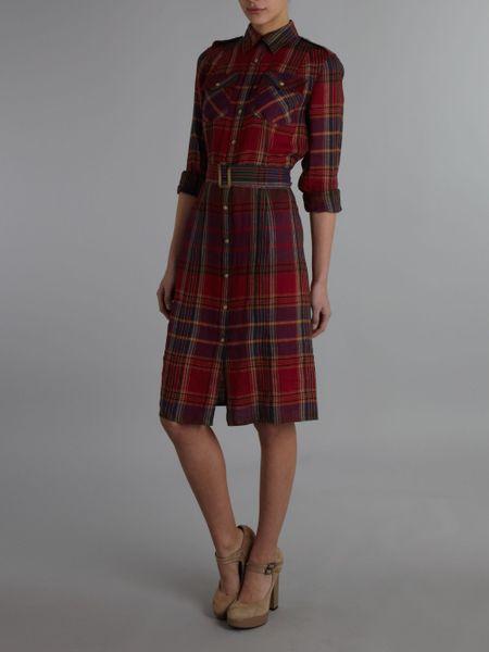 Lauren By Ralph Lauren Shirt Style Plaid Dress In Red
