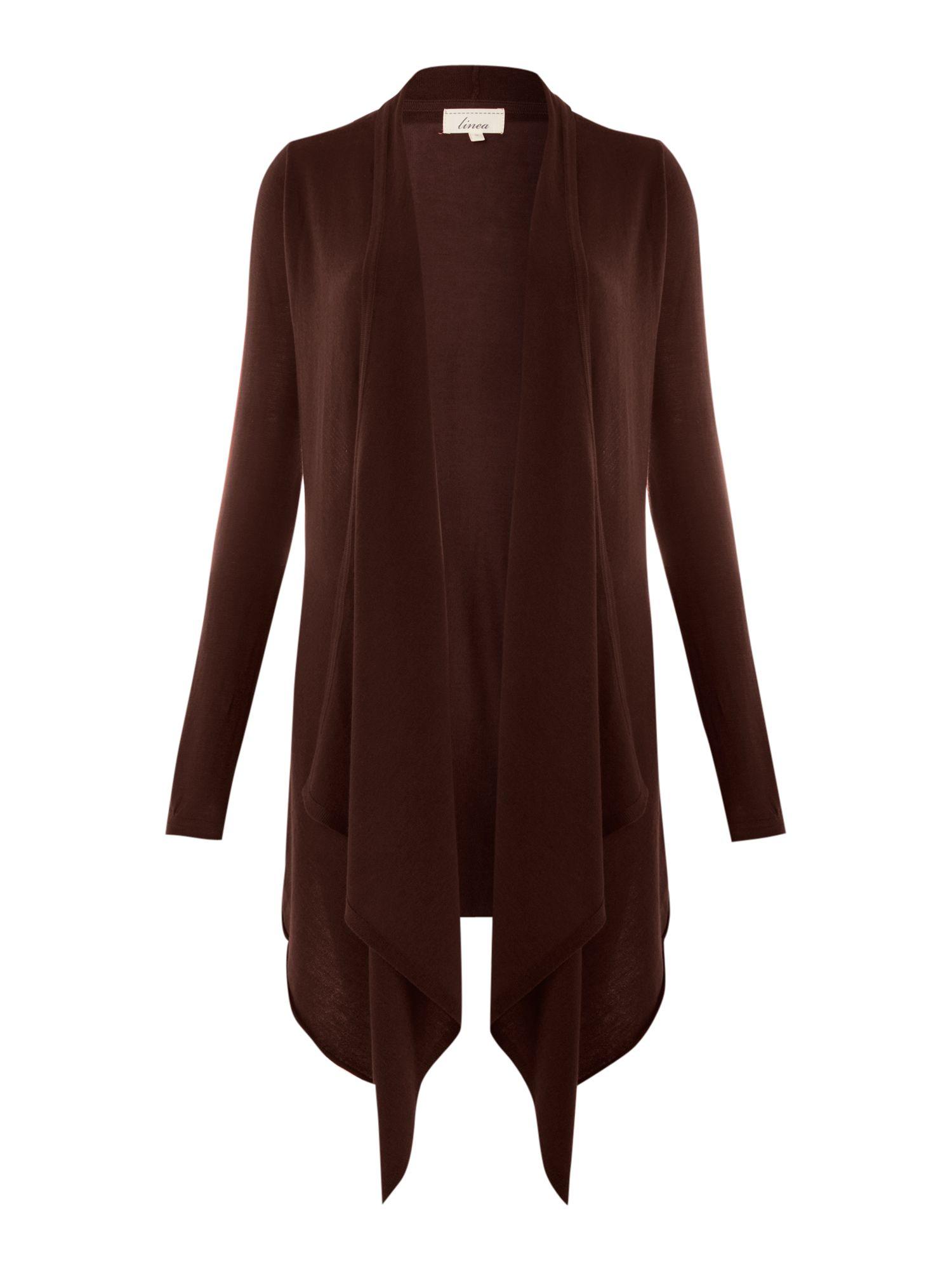 Linea Waterfall Cardigan In Brown Chocolate Lyst