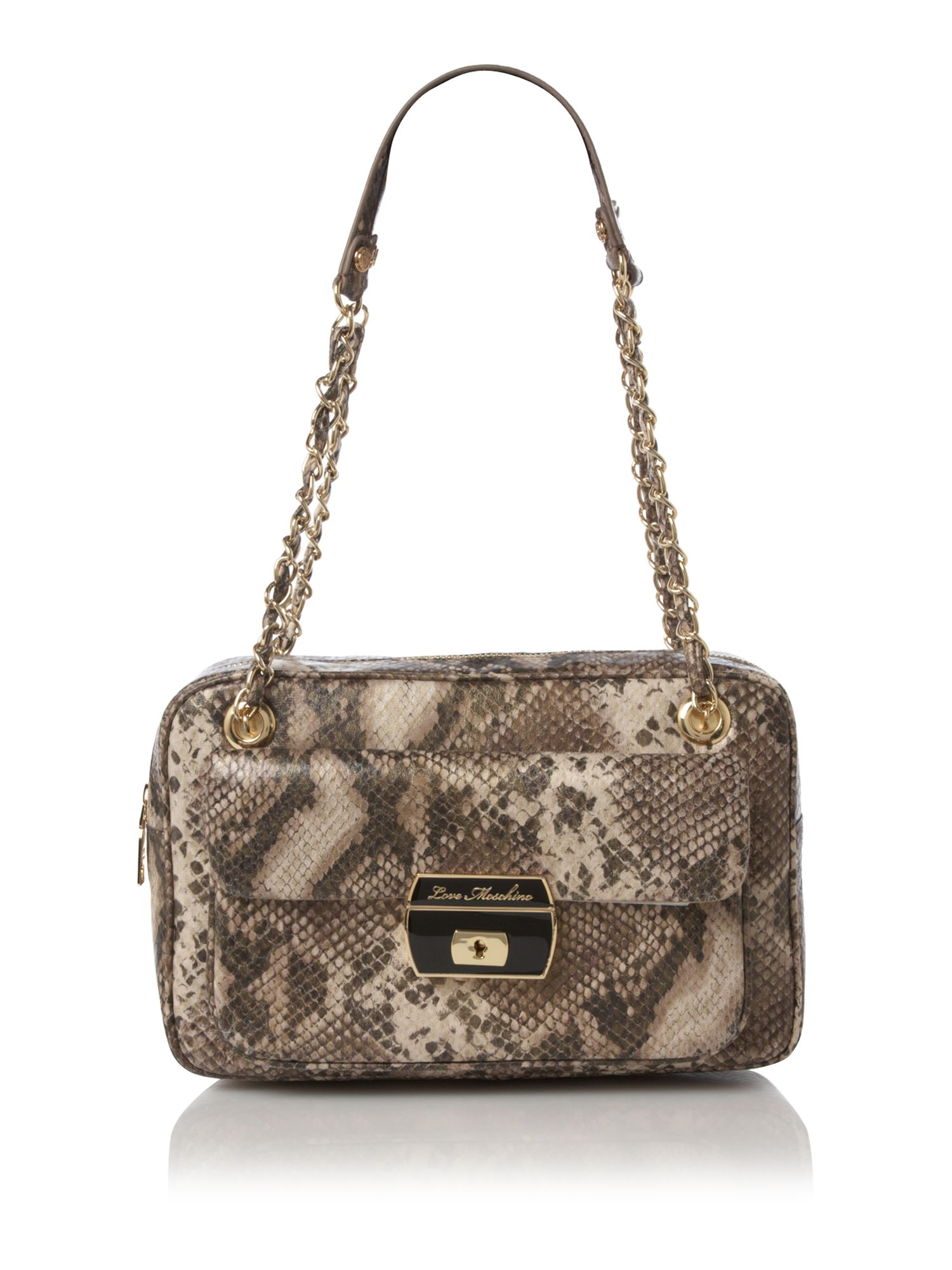 love moschino snake print bowling bag in animal multi coloured lyst. Black Bedroom Furniture Sets. Home Design Ideas