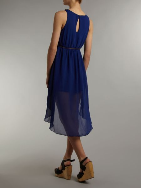 Madam Rage Madam Rage Bead Neck Dipped Hem Dress In Blue