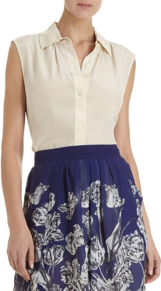 Marc By Marc Jacobs Button Front Sleeveless Blouse in White