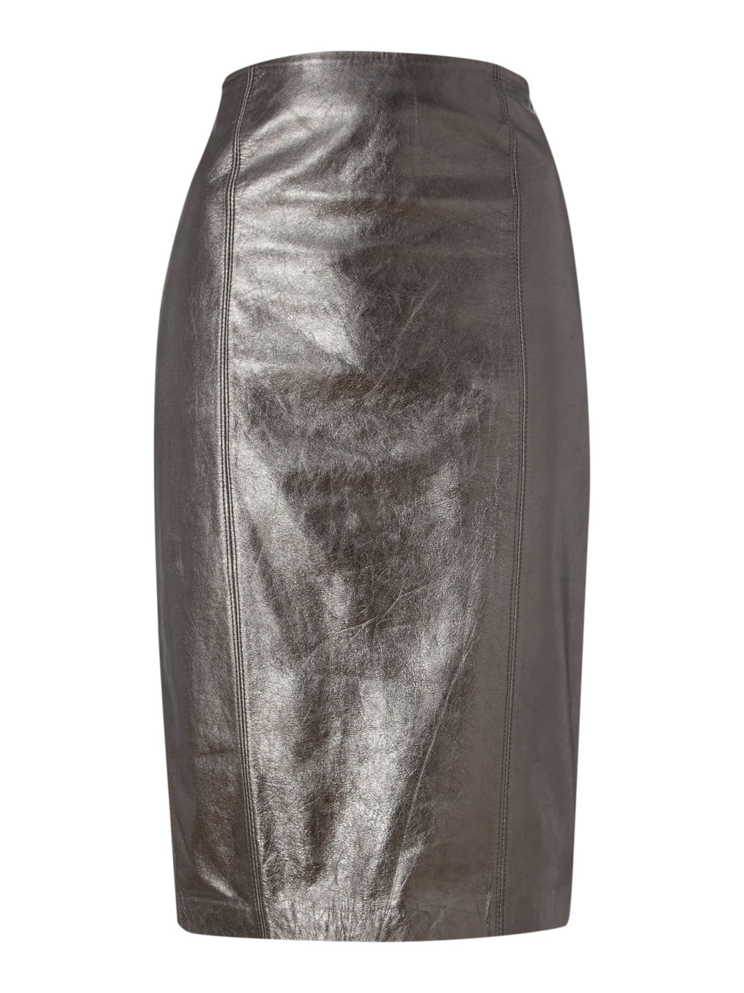 portas leather pencil skirt in silver lyst