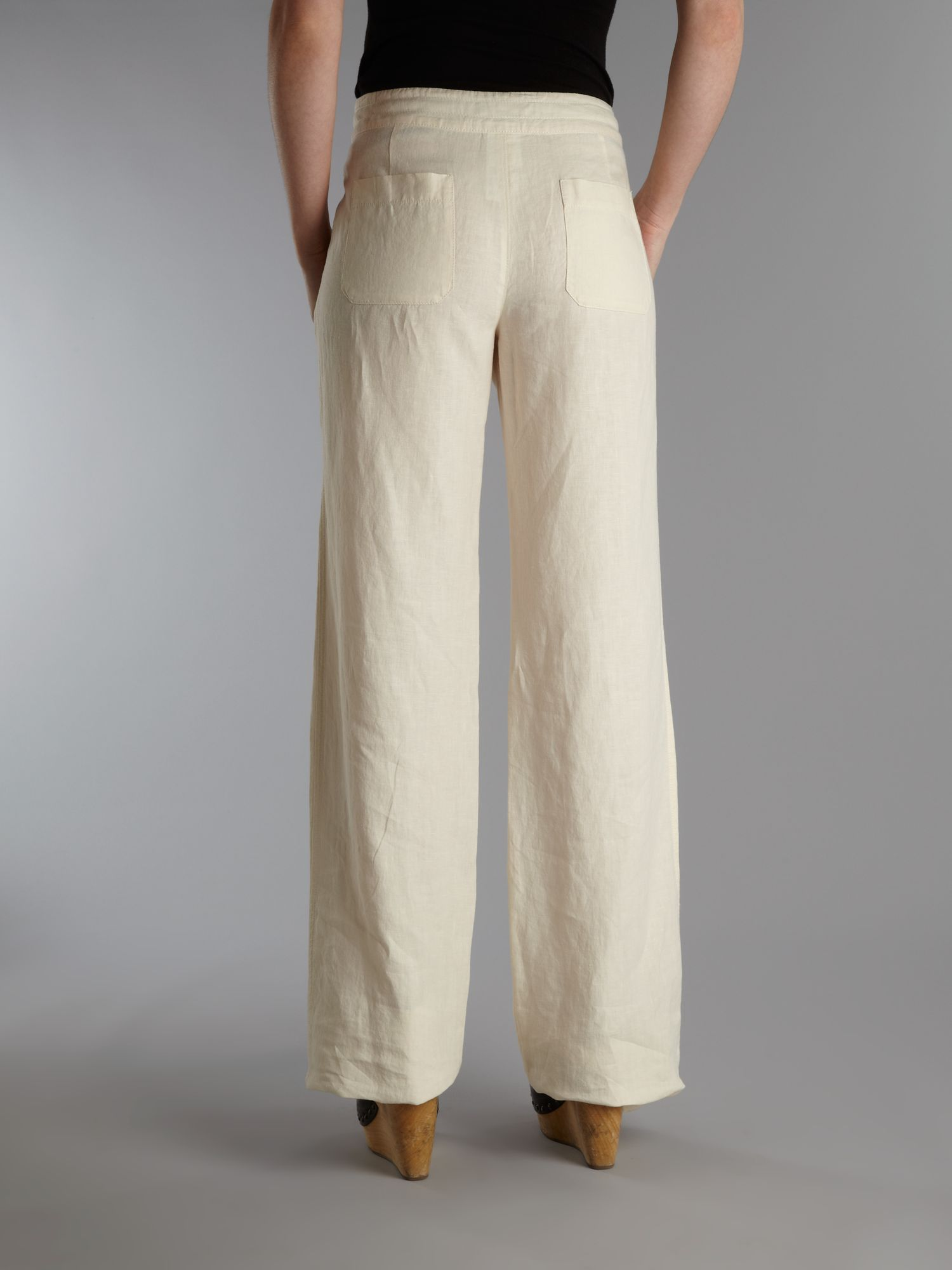 Weekend by maxmara Pila Wide Leg Linen Trousers in Natural | Lyst