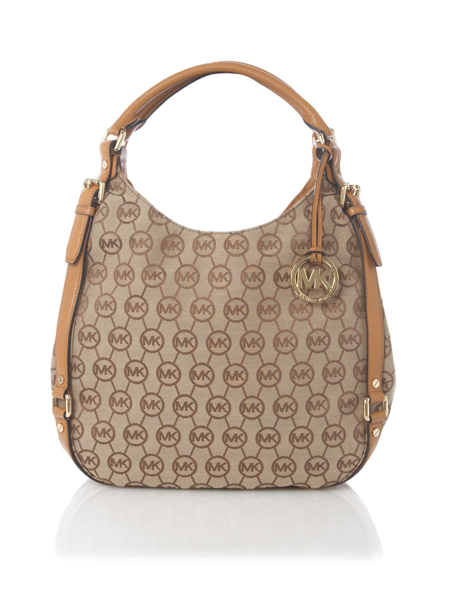 michael michael kors bedford large jacquard hobo bag in beige brown lyst. Black Bedroom Furniture Sets. Home Design Ideas
