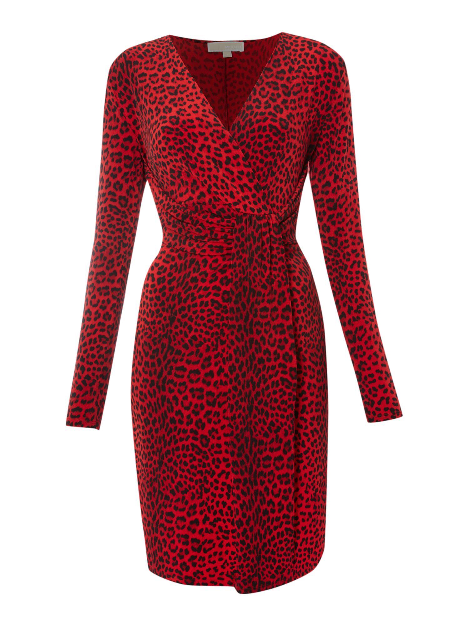 Michael michael kors Leopard Print Jersey Dress in Red | Lyst