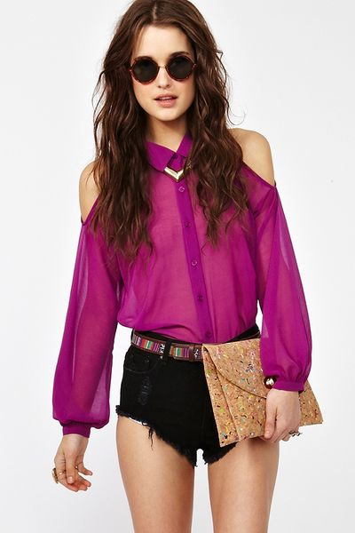 Nasty Gal Cutout Chiffon Blouse in Purple (fuchsia)